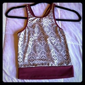 Beautiful maroon pattern crop- workout or fashion